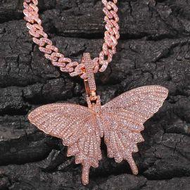 Juego de Colgante de Mariposa Rosa con Cadena de Eslabones Cubana de 8 mm y 20