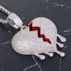 Colgante de Corazón Roto Goteando de Plata