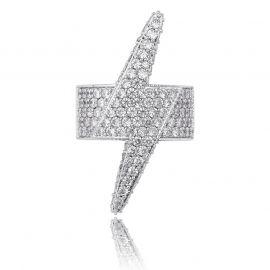 Anillo de Relámpago con Diamantes de Plata