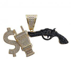 Colgante Money Power Respect con Diamantes