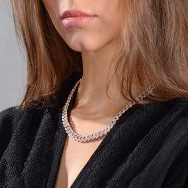 Cadena de Eslabones Cubanos de Dos Tonos con Diamantes de Rosa y Blanco de 8 mm para Mujer