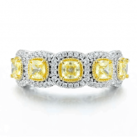 Fancy Amarillo Anillo de Halo de Corte Cojín de 3.2 Ct