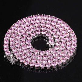 Cadena de Tenis con Piedras Rosas de 4 mm de Plata