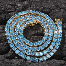 Cadena de Tenis con Piedras Azules de 4 mm de Oro de 18K