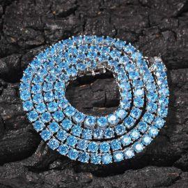 Cadena de Tenis con Piedras Azules de 4 mm de Plata de 18K