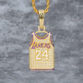 Colgante Lakers 24 Jersey de Oro con Diamantes