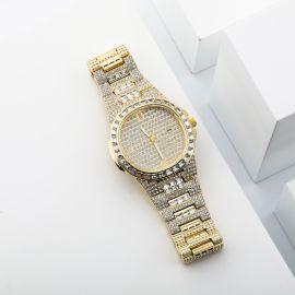 Reloj de moda de cuarzo para hombre de oro con diamantes