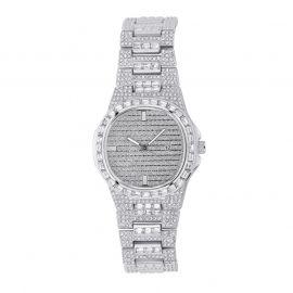 Reloj de moda de cuarzo para hombre de plata con diamantes