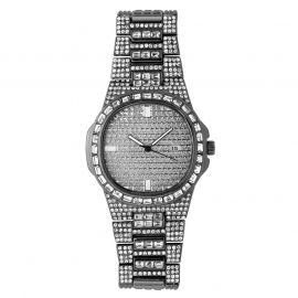 Reloj de moda de cuarzo para hombre de oro negro con diamantes
