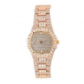 Reloj de moda de cuarzo para hombre de oro rosa con diamantes