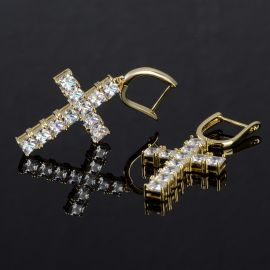 Pendientes Cruz de Oro con Diamantes
