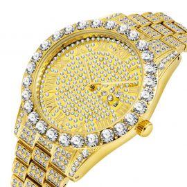 Reloj de hombre con números romanos de oro con diamantes