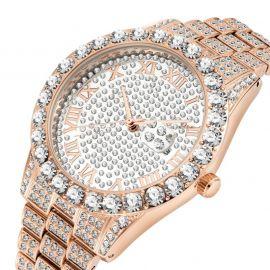 Reloj de hombre con números romanos de oro rosa con diamantes