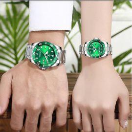Reloj de acero inoxidable con mesa luminosa de cuarzo para parejas