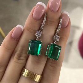 Pendientes Colgantes Verdes de Corte Esmeralda