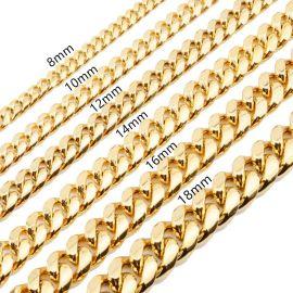 12mm Juego de Cadenas Cubanas de Eslabones de Acero Inoxidable de Oro