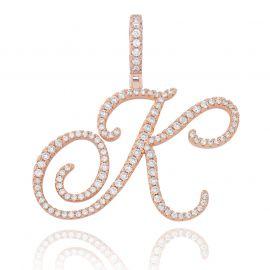 Colgante de Letras Iniciales de la A a la Z de Estilo Cursivo de Oro Rosa