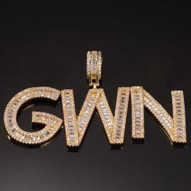 Colgante de Letras Personalizada con Baguette de Oro