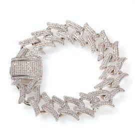 Pulsera Corona de Espinas de Plata con Diamantes de 20mm