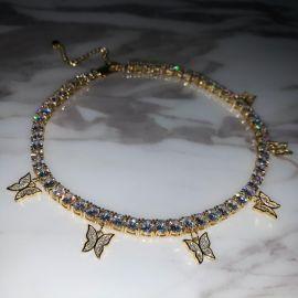 Cadena de Tenis con Mariposa para Mujeres de Oro