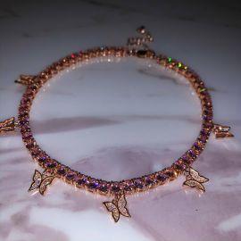 Cadena de Tenis con Mariposa para Mujeres de Oro Rosa