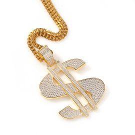 Colgante de Dólar Grande de Oro con Diamantes