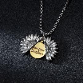 """You Are My Sunshine"" Colgante Abierto de Girasol de Acero de Titanio"