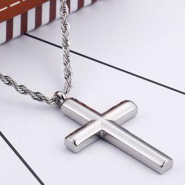Colgante de la Cruz de Acero Inoxidable Cilíndrico
