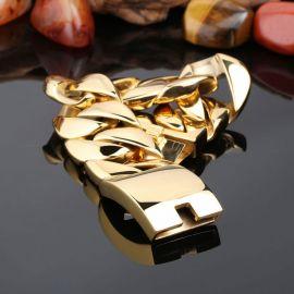Pulsera Cubana de Acero Inoxidable 316L de Oro de 32mm