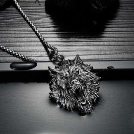 Vintage Colgante Lobo de Acero Inoxidable