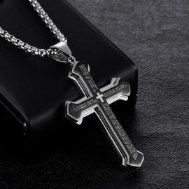 Colgante de Cruz de la Biblia en capas de acero y titanio