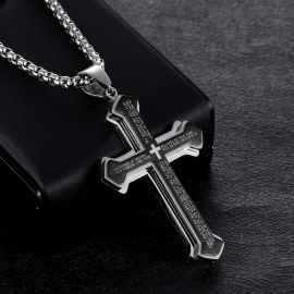 Colgante de Acero de Titanio de la Cruz de la Biblia en Capas