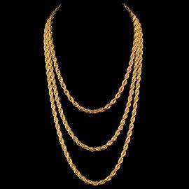 Cadena de Cuerda con Acabado de Oro de 18K de 6mm