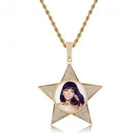 Colgante con Fotos Personalizadas en forma de Pentagrama de Oro con Diamantes