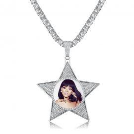 Colgante con Fotos Personalizadas en forma de Pentagrama de Plata con Diamantes