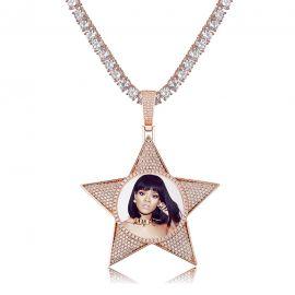 Colgante con Fotos Personalizadas en forma de Pentagrama de Oro Rosa con Diamantes