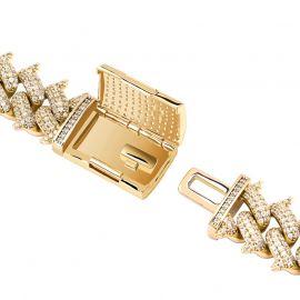 14mm Cadena Cubana de Miami en forma de Espina con Cierre de Caja Grande de Oro con Diamantes
