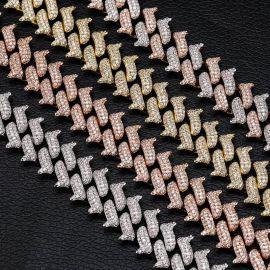 Cadena Cubana de Dos Tonos de 14 mm de Espesor en Miami con Cierre de Caja Grande