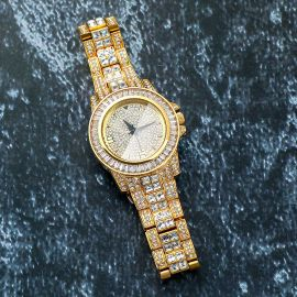 Reloj con Diamantes Chapado en Oro de 18K