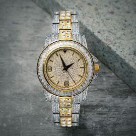 Reloj de oro con diamantes de dos tonos de 18K