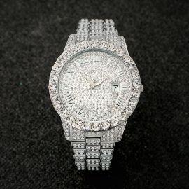 Reloj de Hombre con Números Romanos de Plata con Diamantes
