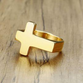 Anillo de cruz de acero inoxidable de oro