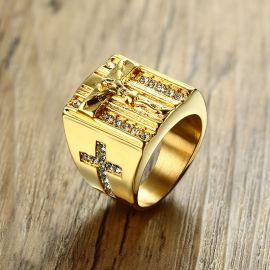 Anillo Con la Cruz de Jesús de Acero de Titanio