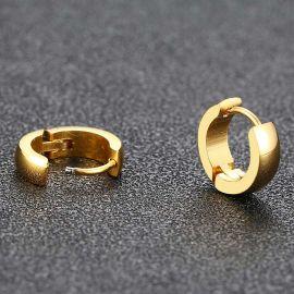 Pendientes de Aro de Acero Inoxidable de Oro