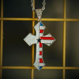 Colgante de la Cruz de la Bandera de Plata de Diamantes