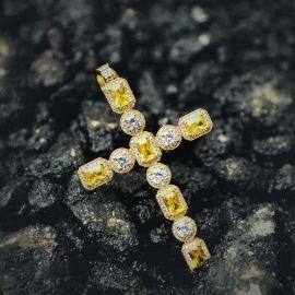 Colgante Cruz de Oro con Fancy Diamantes Amarillos y Blancos