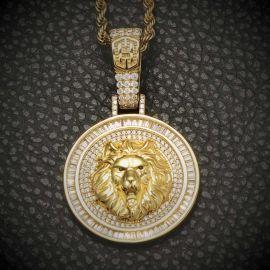 Colgante Redondo con León de Oro con Diamantes