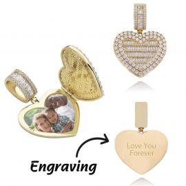 Colgante de Foto en Forma de Corazón de Caja Personalizada de Oro