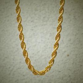 10mm Cadena de Cuerda con Acabado de Oro de 18K