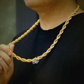 Cadena de Cuerda con Acabado de Oro de 18K de 10mm